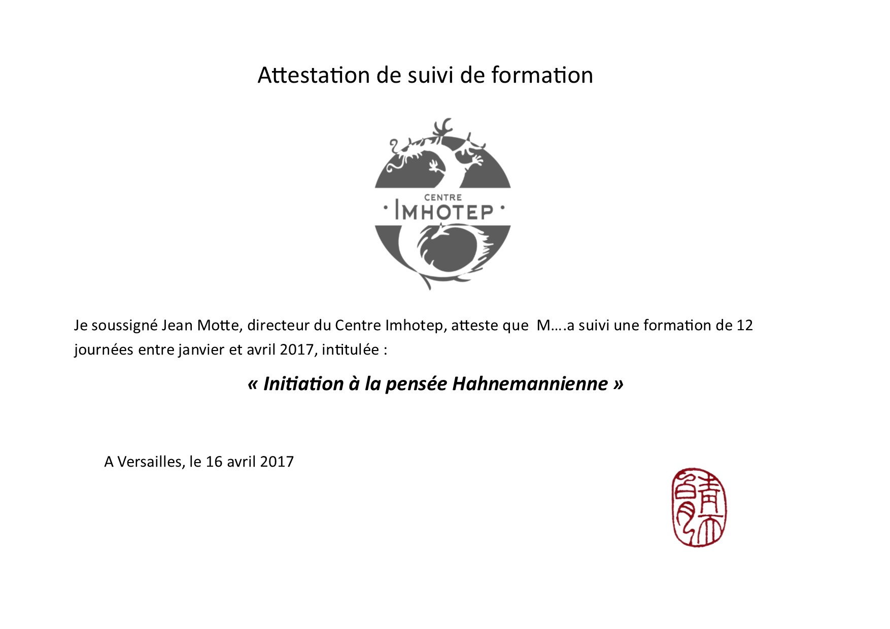Attestation Homeo